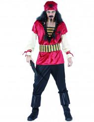 Disfarce pirata homem cor de laranja e preto