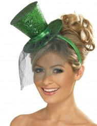 Mini cartola verde de brilhantes com véu