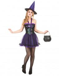 Disfarce de bruxa lilás mulher para Halloween