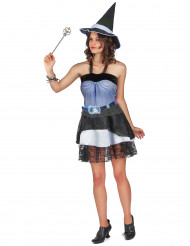 Disfarce bruxa Halloween azul mulher