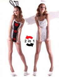 Disfarce reversível anjo e coelho mulher