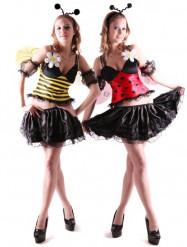Disfarce reversível abelha e joaninha mulher