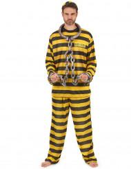 Disfarce prisioneiro amarelo para adulto