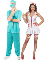 Disfarce de casal enfermeira e médico