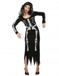 Disfarce esqueleto comprido mulher Halloween