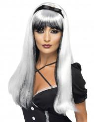 Peruca branca e preta com nó preto mulher
