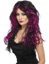 Peruca preta com madeixas cor-de-rosa mulher