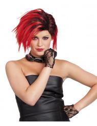 Peruca punk curta vermelha mulher