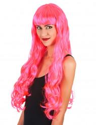 Peruca comprida cor-de-rosa mulher