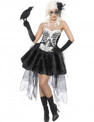 Disfarce esqueleto gótico mulher Halloween