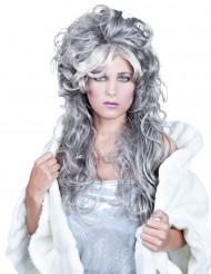 Peruca ondulada comprida grisalha para mulher