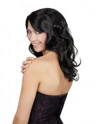 Peruca preta comprida e ondulada mulher