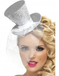 Mini chapéu alto prateado mulher