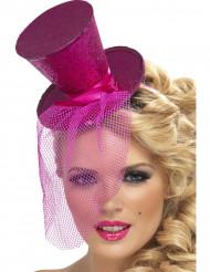 Mini chapéu alto cor-de-rosa mulher