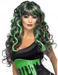 Peruca sereia verde e preta mulher