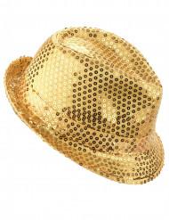 Chapéu com lantejoulas douradas adulto