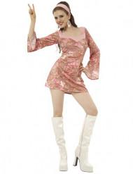 Disfarce hippie mulher rosa