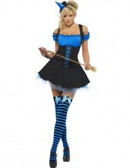 Disfarce bruxa sexy azul mulher Halloween