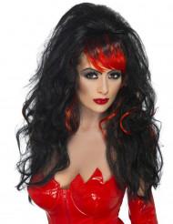 Peruca preta com franja vermelha mulher