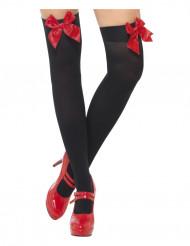Meias pretas com laços vermelhos adulto