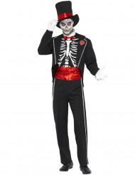 Disfarce gentleman esqueleto homem Halloween