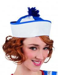 Chapéu marinheiro adulto pompom azul