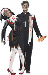 Disfarce casal religioso zombie Halloween