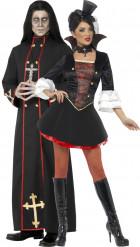 Disfarce de casal monge e vampira Halloween