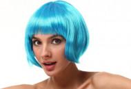 Peruca curta azul adulto mulher