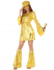 Disfarce disco dourado para mulher