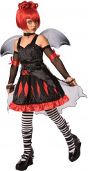 Disfarce princesa gótica morcego menina Halloween