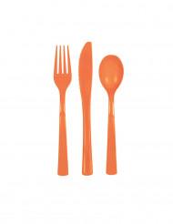 Talheres de plástico cor de laranja