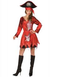 Disfarce de pirata vermelho mulher