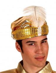 Chapéu de sultão árabe dourado adulto