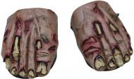 Sobre-sapatos pés de zombie adulto Halloween
