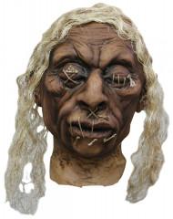 Decoração cabeça vudu cabelos brancos adulto Halloween