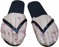 Sobre-sapatos pés de homem adulto preto Halloween