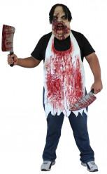 Avental ensanguentado de cortador de carne adulto Halloween