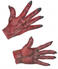 Luvas de diabo vermelho adulto Halloween
