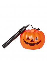 Lanterna abóbora laranja cabo decorido Halloween