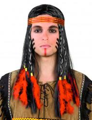 Peruca índio com penas vermelhas homem