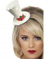 Mini chapéu branco adulto Natal