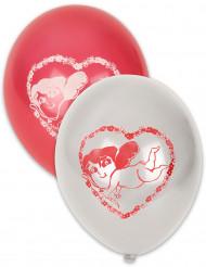 10 balões vermelhos e brancos Cupido