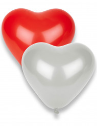 10 Balões vermelhos e brancos