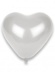 10 balões em forma de corações brancos
