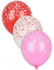8 balões imprimido corações