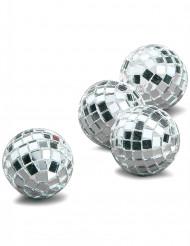 4 mini bolas de espelho prateadas