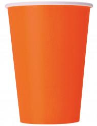 10 Copos de cartão cor de laranja