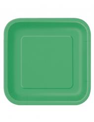 14 Pratos grandes de cartão verde