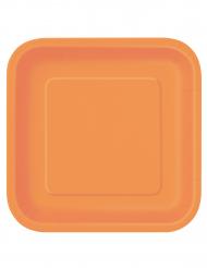 14 Pratos grandes de cartão cor de laranja